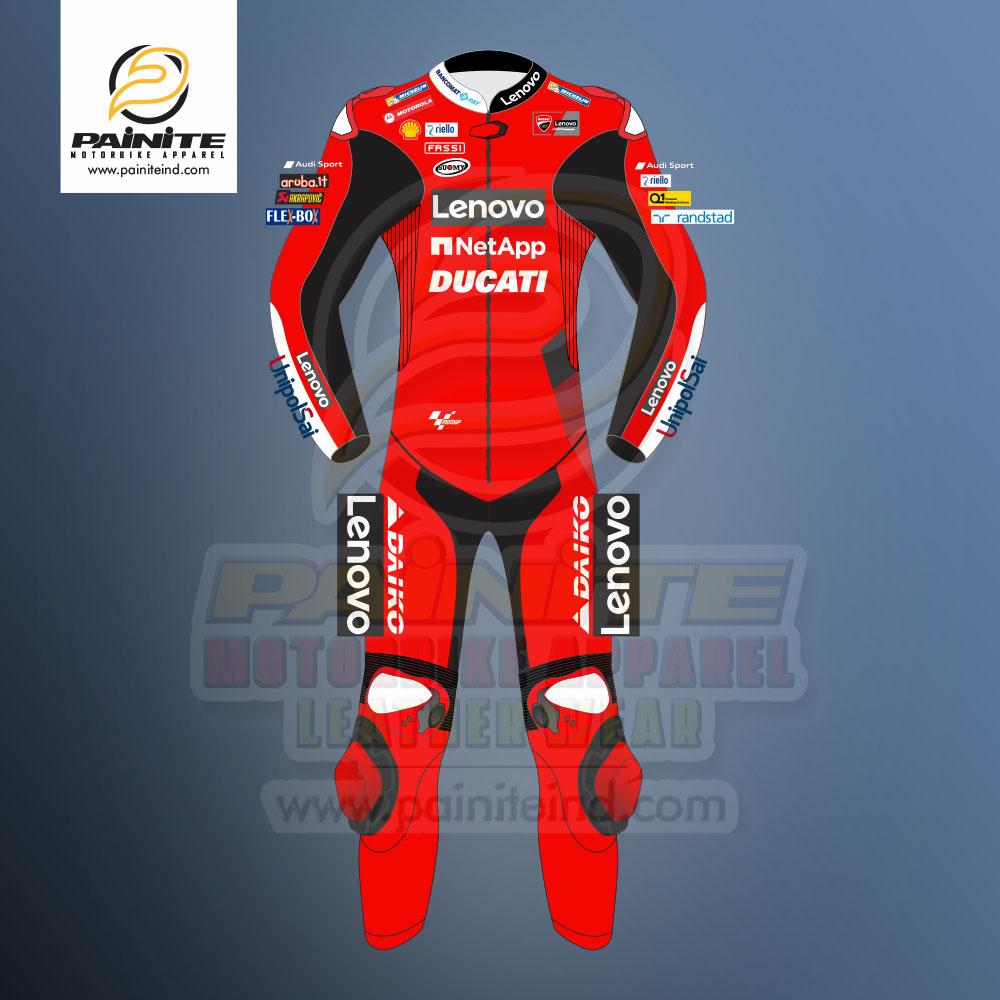 Francesco Bagnaia Ducati Motogp 2021 Leather Race Suit Front Painite Industries